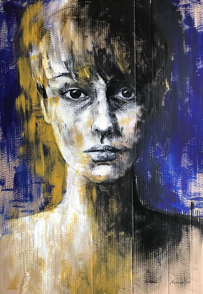 Ephemeral Presence, acrylic on cardboard contemporary portrait painting by Clara Niniewski
