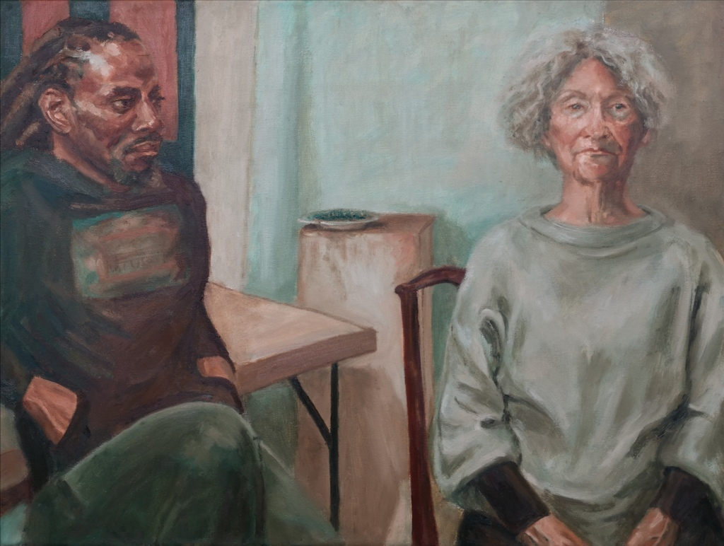 Sitting Together, Portrait of a Black Man and an Old Lady siting together, Oil on canvas by Clara Niniewski