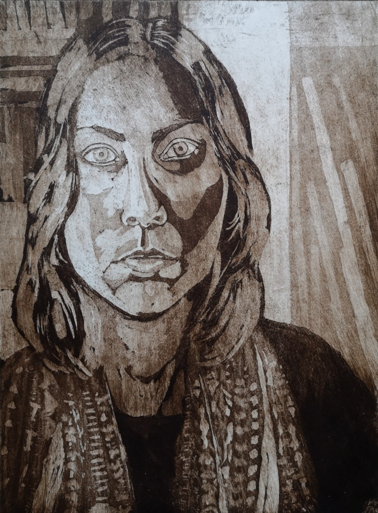 self-portrait aquatint on paper with brown ink