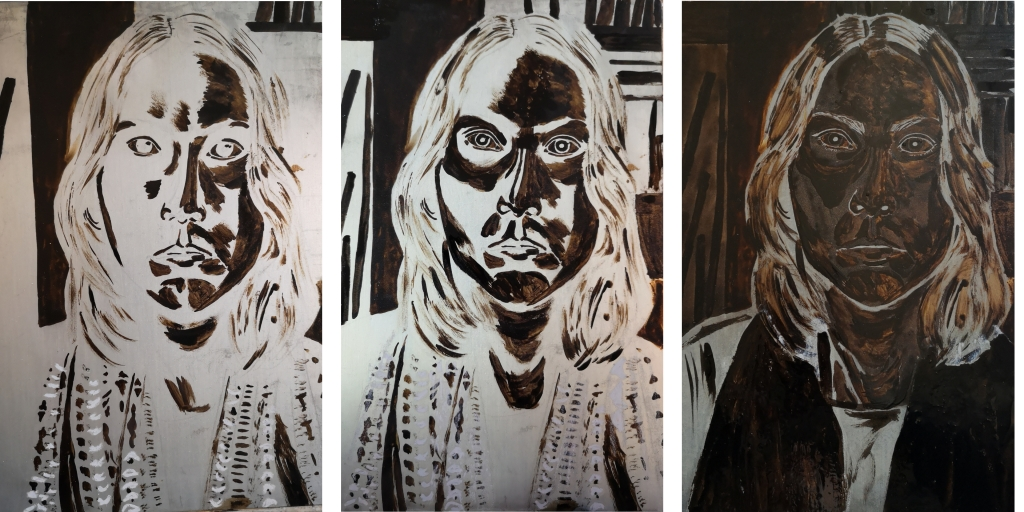 3 steps of varnish covering of the metal plate using the aquatint technique