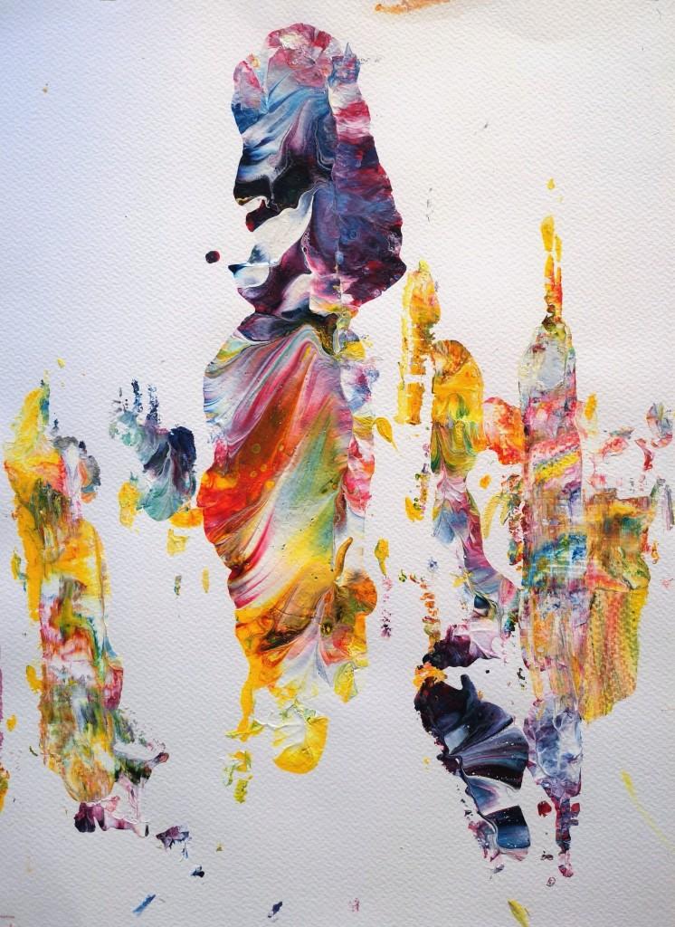 Danse des Couleurs 1, acrylic on paper, 30 x 40 cm abstract art