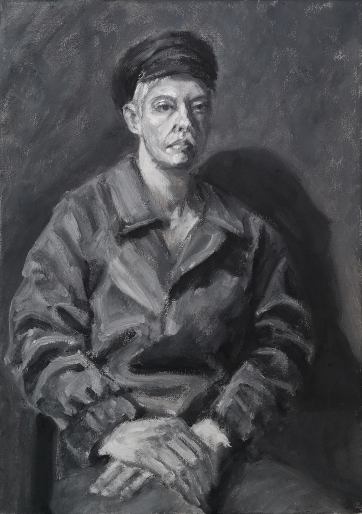 Resolute, black and white greyscale oil painting portrait study of an androgynous woman in a hat and coat by Clara Niniewski