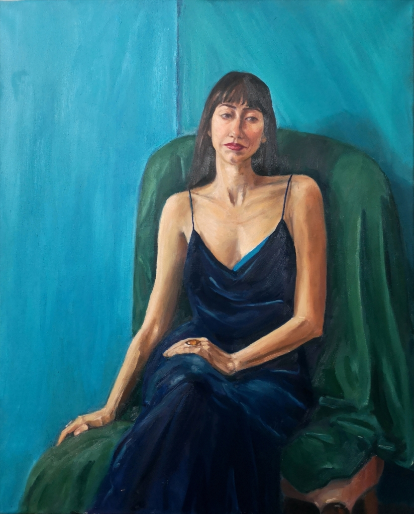 Waiting oil figurative painting portrait of a woman in a dark blue velvet dress on a green couch , by Clara Niniewski
