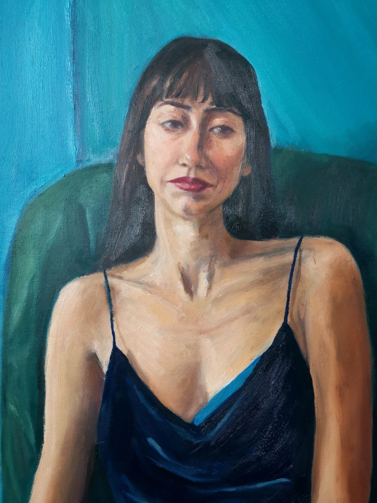 Face and flesh details of Waiting oil painting contemporary portrait of a woman sitting in a dark velvet dress, by Clara Niniewski