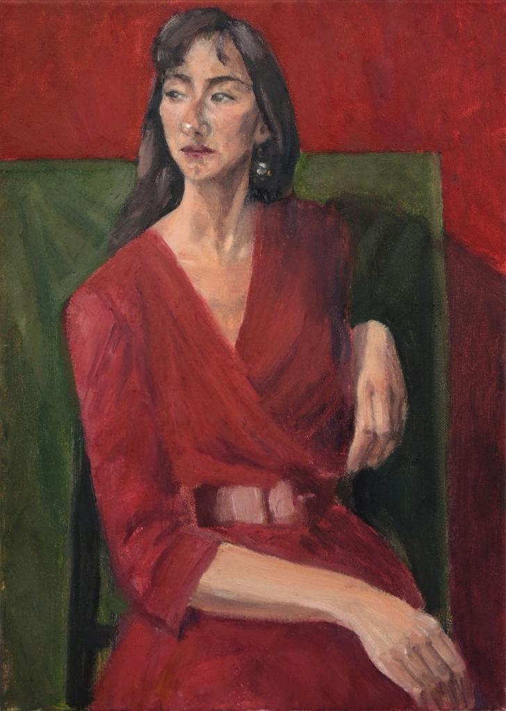 Girl In A Red Dress, oil painting portrait of a Spanish girl looking away, in a relaxed pose yet resolute.