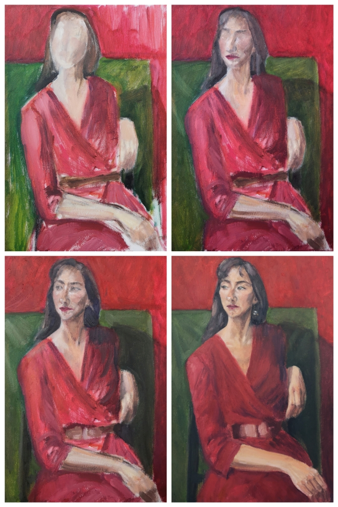 Process shots of Girl in a red dress oil portrait painting