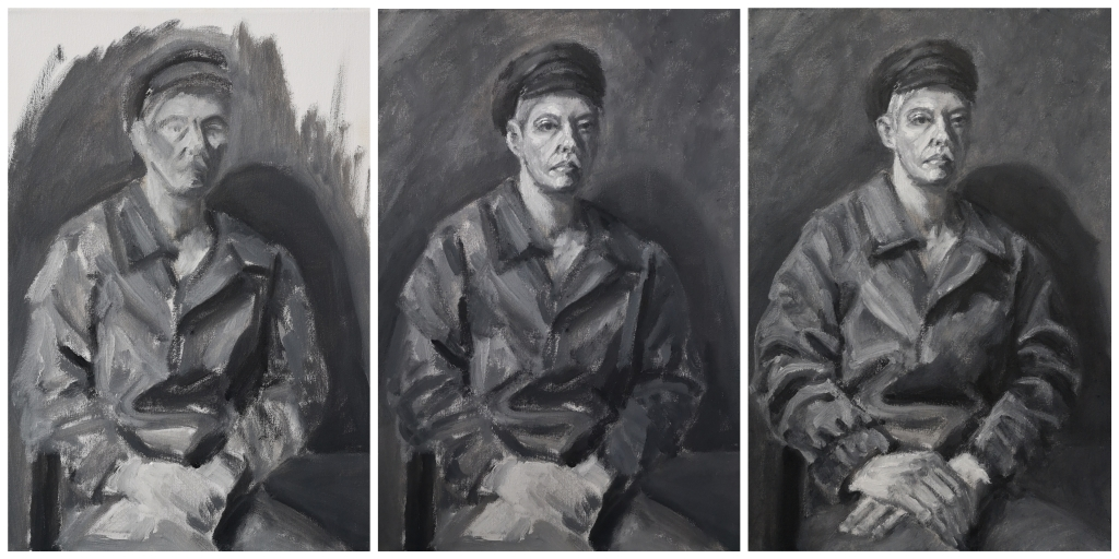 Progress shots of black and white greyscale oil painting portrait study of an androgynous woman in a hat and coat, Resolute by Clara Niniewski