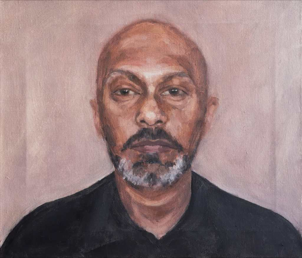 Portrait of Akram Khan by Clara Niniewski, oil on stretched linen