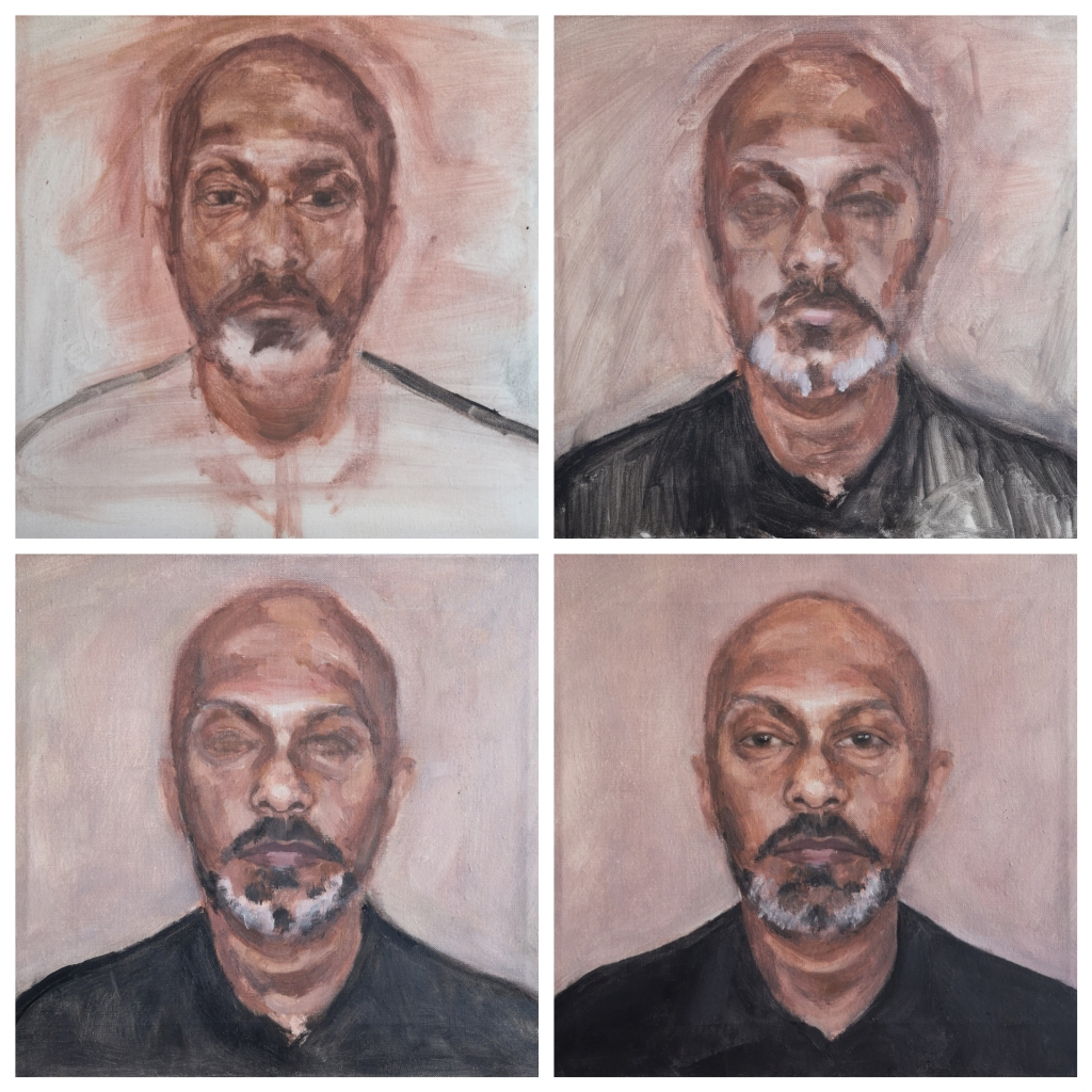 Process shots of the Portrait of Akram Khan by Clara Niniewski, oil on stretched linen