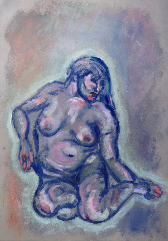 Girl Holding Her Foot After Lucian Freud oil on paper by Clara Niniewski available for sale for the artist support pledge
