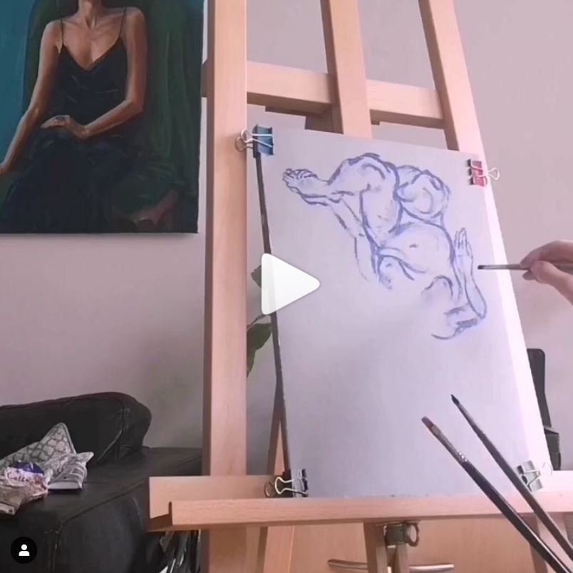 screenshot of video of fast forward painting process of an oil study after Lucian Freud's etching A Girl Holding Her Foot by Clara Niniewski with a link to view the video