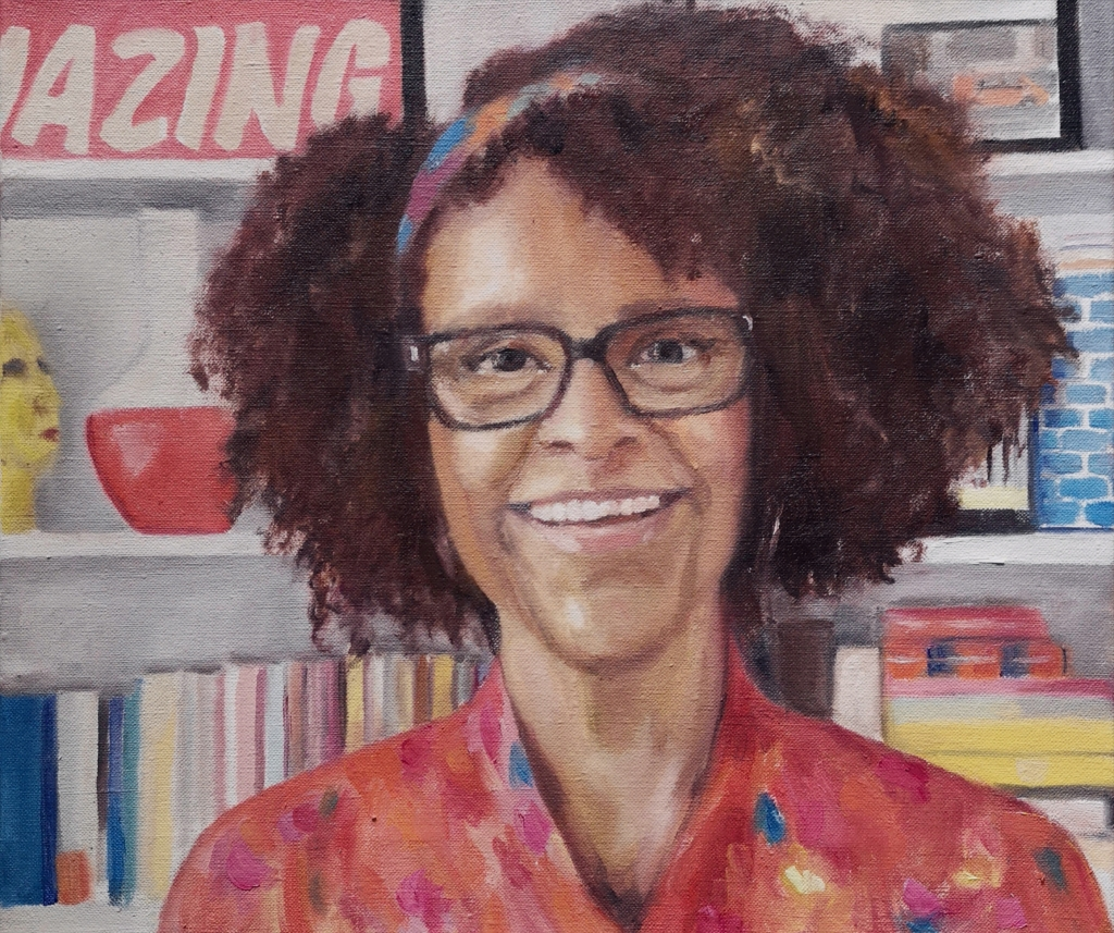 Portrait of author Bernardine Evaristo by Clara Niniewski as part of the artist of the week challenge, oil on linen canvas