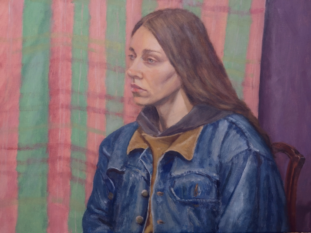 Oil Painting Portrait of artist Bernadett Timko by Clara Niniewski
