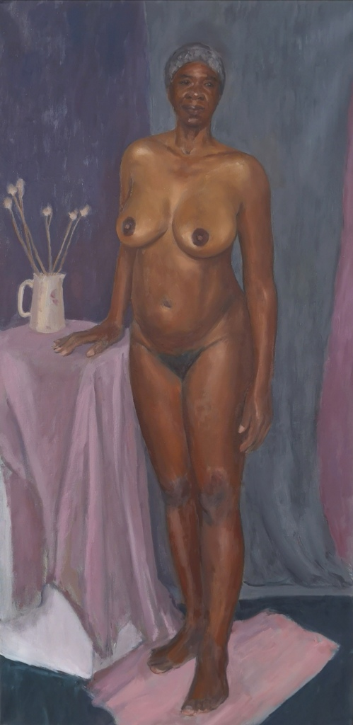 Portrait of a nude Black woman wearing a head scarf standing next to a jug with flowers painted with oil paints on canvas by Clara Niniewski