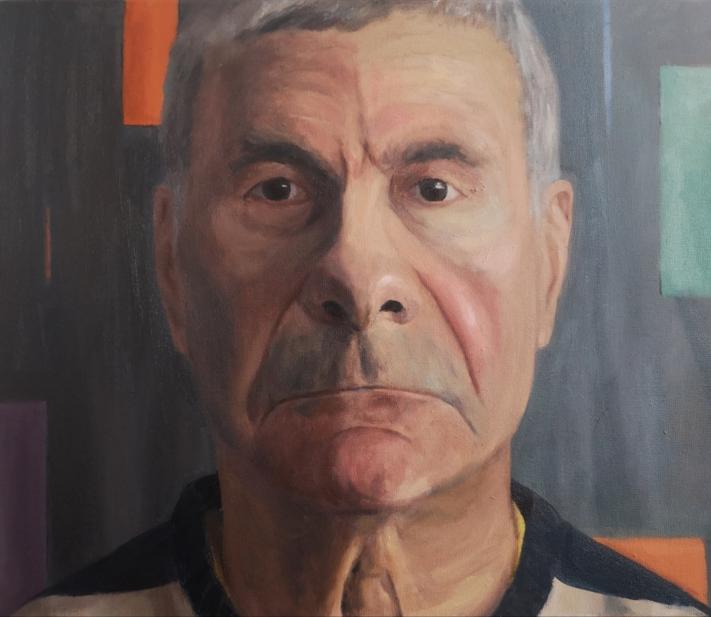 Realistic close-up portrait of a middle aged man with a serious straight gaze painted with oil paints on canvas by Clara Niniewski