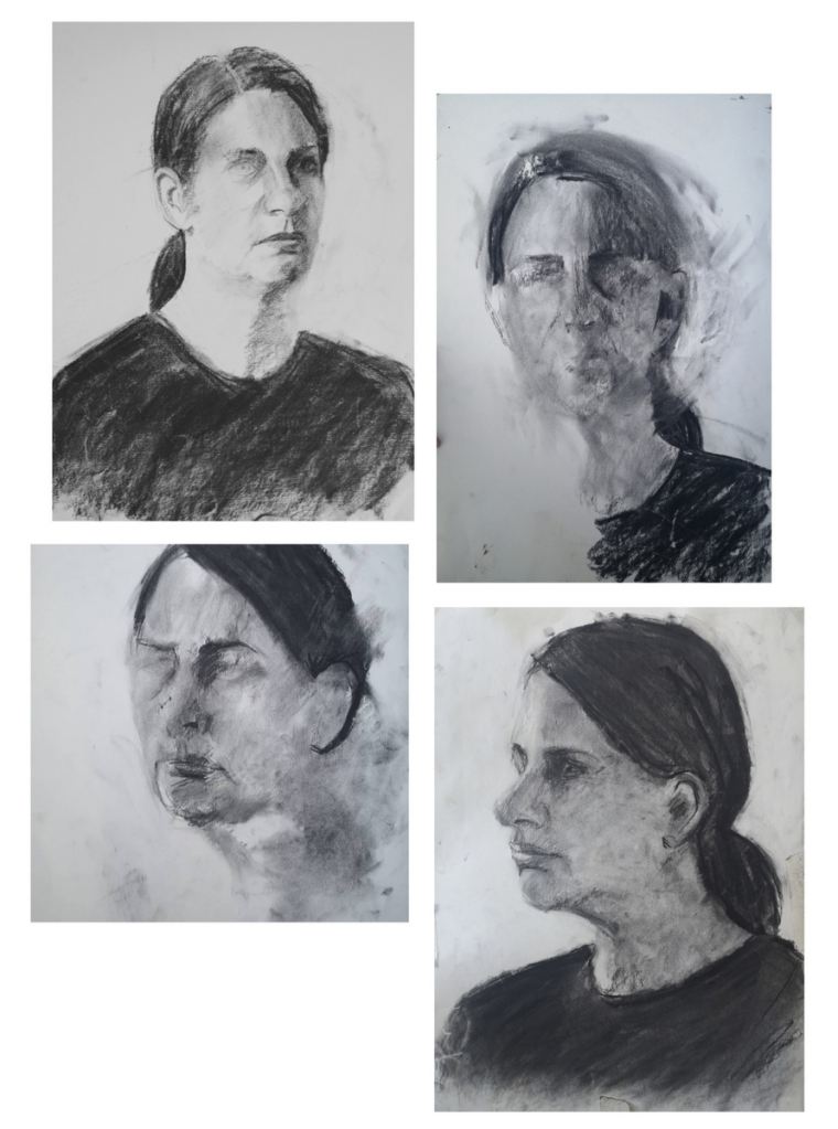 Charcoal drawing studies of Carla Borel by Clara Niniewski