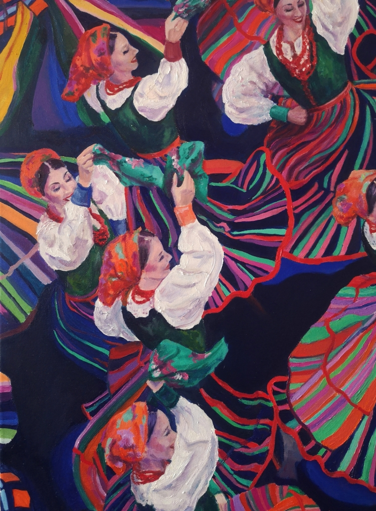 Detail from Dancing Colours by Clara Niniewski, an oil painting of Polish Folk Dancers from the Mazowsze group.