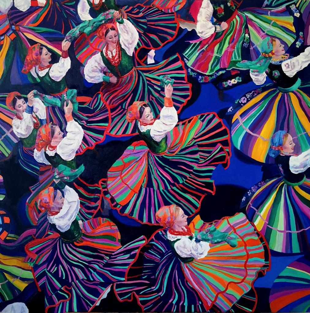 Dancing Colours by Clara Niniewski, an oil painting of Polish Folk Dancers from the Mazowsze group.